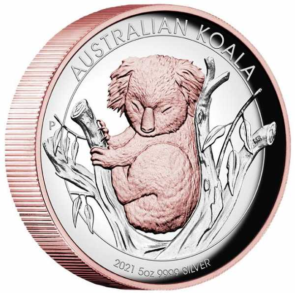 Australien Koala 5 Unzen High Reilef gilded 2021 +Box +COA*