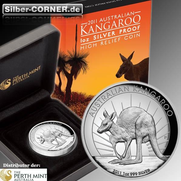 High Relief Kangaroo 2011 1 Oz Silber Proof*