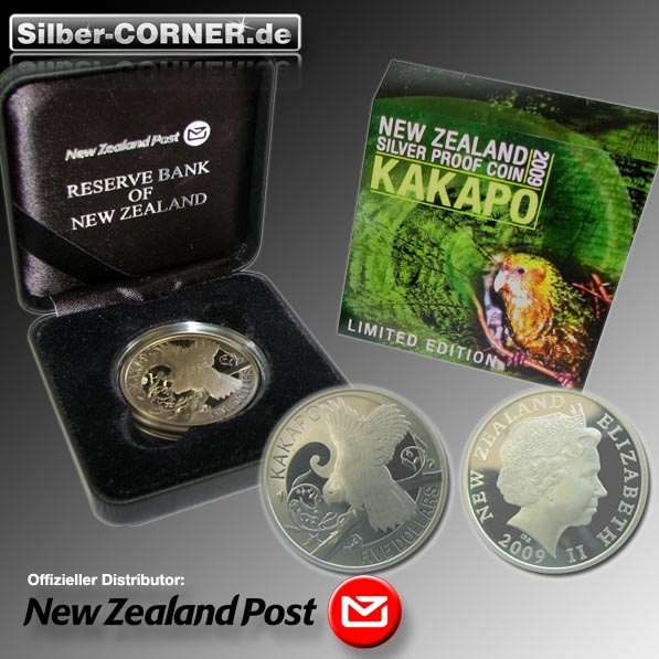 Kakapo 2009 1 Oz Silber Proof + Box + COA*