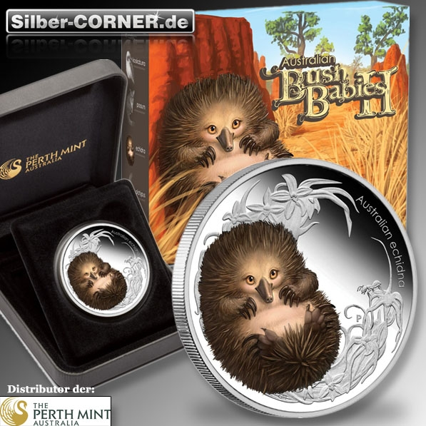 Bush Babies II 1/2 Oz Proof Echidna 2013 + Box +CoA*