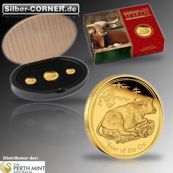 Lunar II - Jahr des Ochsen - 2009 3-Coin-Set Gold Proof