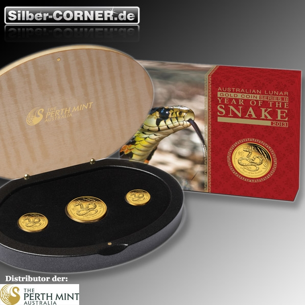 Lunar II Schlange 3-Coin-Set Proof Gold Proof + Box + COA
