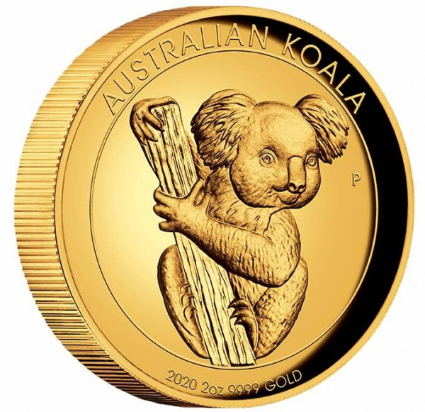 Australien Koala 2 Unzen Gold 2020 High Relief + Box +COA
