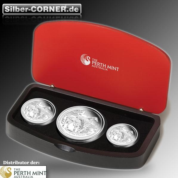 Lunar II Pferd Silber 3 Coin Set + Box + CoA 2014 *