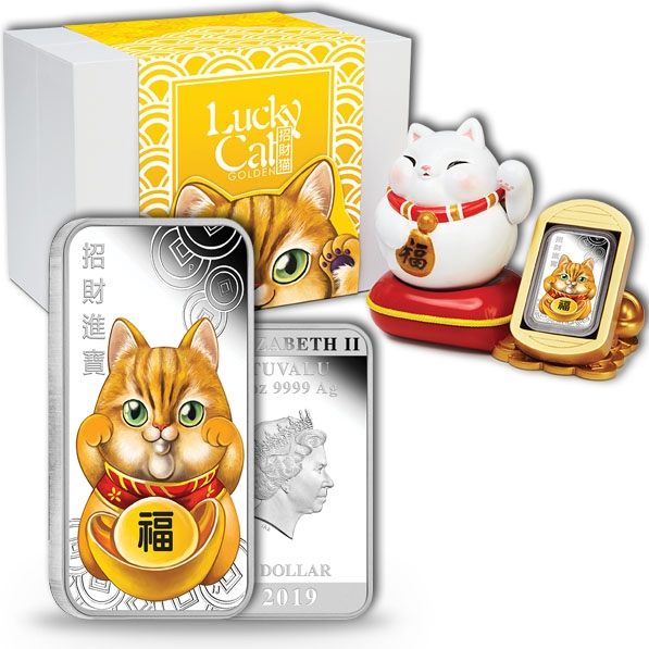 Lucky Cat 1 Oz Silber Proof 2019 +Aufsteller +COA *