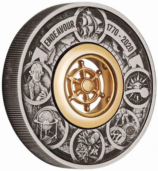 Discovery Endevaour 1770-2020 2 Unzen Silber Antik + Box +COA *