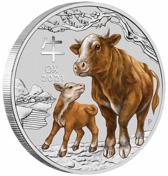 1 Unze Lunar 3 Ochse farbig Silbermünze
