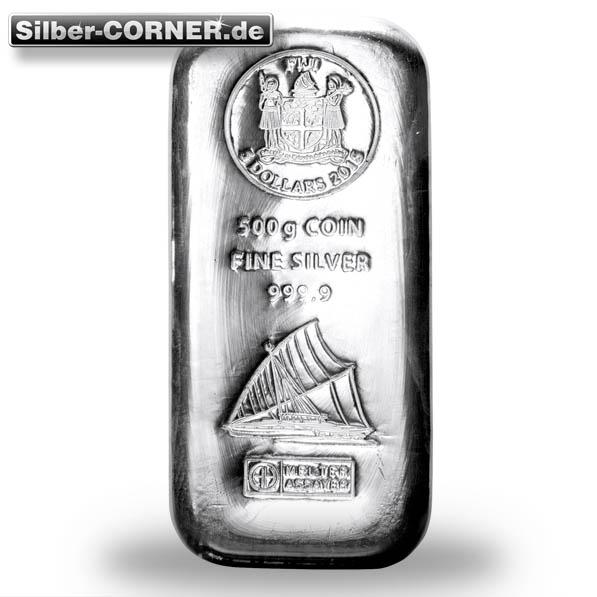 Fiji 500 Gramm Silberbarren Heraeus