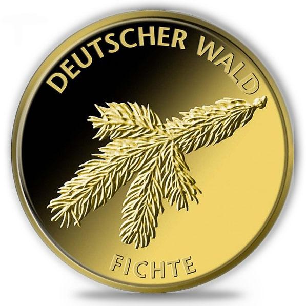 Gold 1/8 Oz Deutscher Wald Fichte 2012 II.Wahl da roter Fleck auf Münze