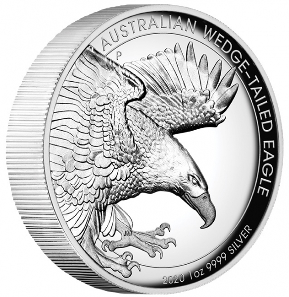 Wedge Tailed Eagle 1 Oz Silber 2020 High Relief +Box*