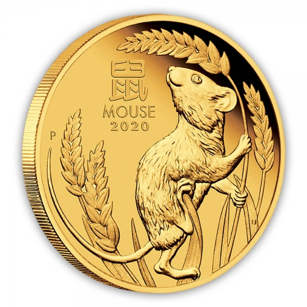 Lunar 1/10 Oz Gold Proof Maus 2020