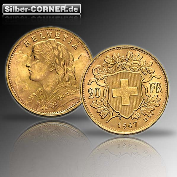 Vreneli Goldmünze 20 Schweizer Franken