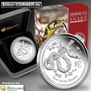 Lunar II Jahr der Schlange 1/2 Oz Silber Proof + Box + CoA *