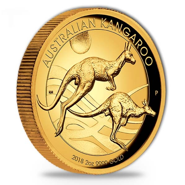 2 oz Gold High Relief Kangaroo 2018
