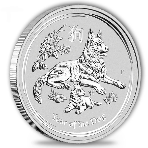 Lunar II - Hund - 10 Kg Silber 2018 *