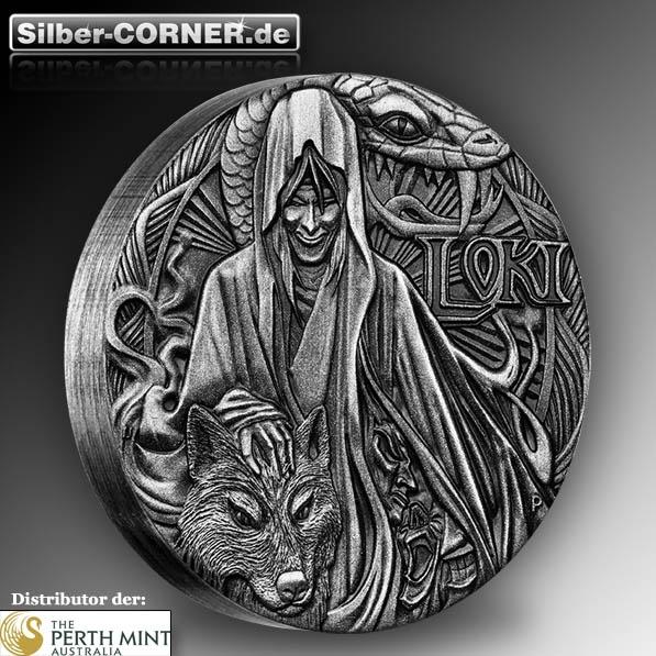 Norse Gods - Loki - 2 Oz Silber High Relief + Box + COA*