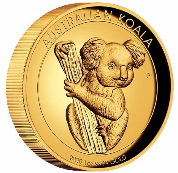 Australien Koala 1 Unze Gold 2020 High Relief + Box + COA