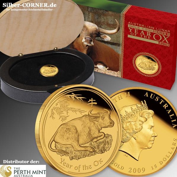 Lunar II Ochse 1/10 Oz Gold Proof + Box + COA