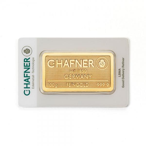 100 Gramm Goldbarren Hafner geprägt