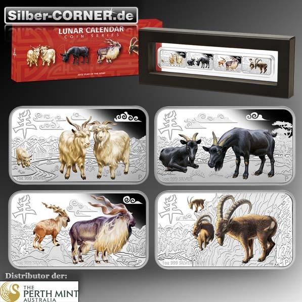 Jahr der Ziege Rectangle Set 4 x 1 Oz Silber + Box + COA*
