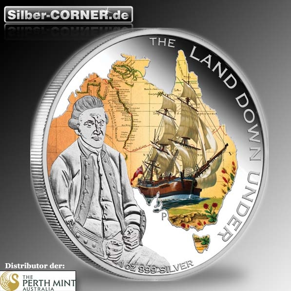 The Land Down Under - Captain James Cook - 1 Oz Silber Proof + Box + COA*