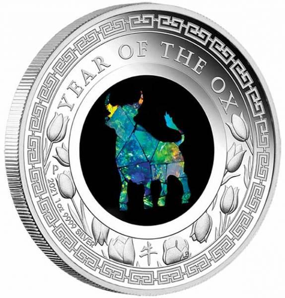 Opal Lunar Ochse 1 Unze Silber Proof