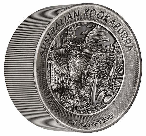 Kookaburra 2 KG Silbermünze Antik Finsih