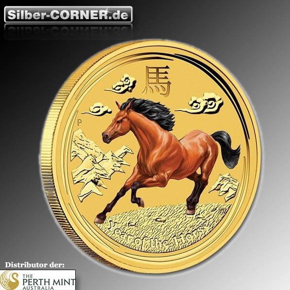 Lunar II 1/20 Oz Gold Pferd farbig