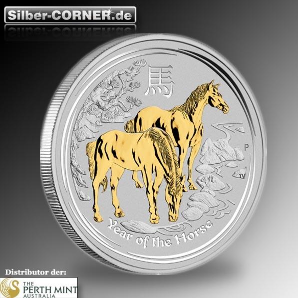 Lunar II - Pferd - 1 Oz Silber gilded + COA ohne Box *