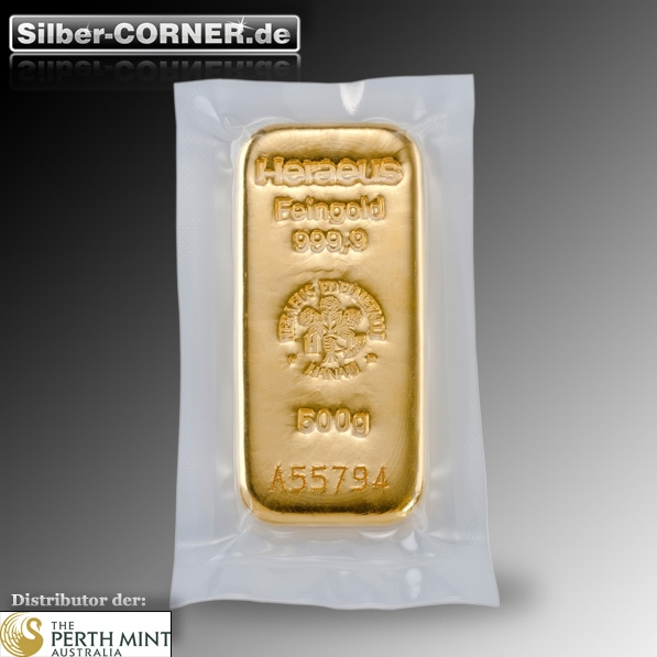 500 Gramm Goldbarren Front