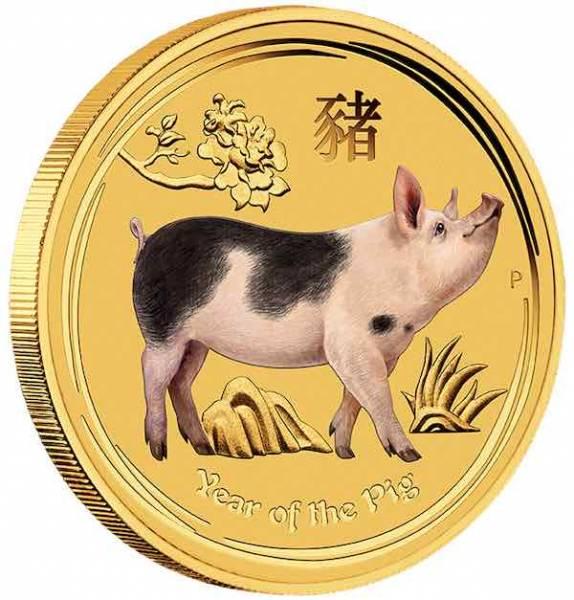 Lunar II - Schwein - 1/20 Unze Gold farbig 2019
