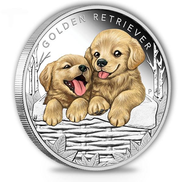 Puppies - Golden Retriever - 1/2 Oz Silber Proof 2018 *