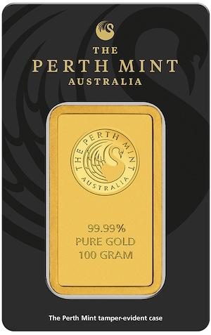 100 Gramm Känguru Goldbarren Perth MInt