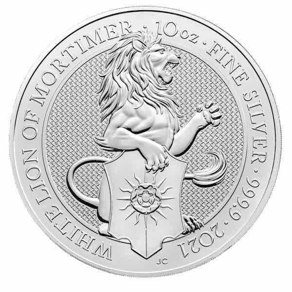 Queens Beasts - White Lion of Mortimer - 10 Unzen Silber 2021*