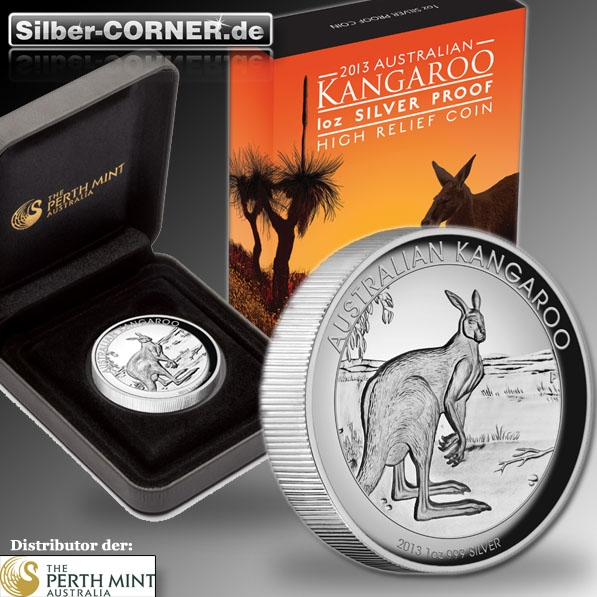 High Relief Kangaroo 1 Oz Silber 2013 + Box + CoA *