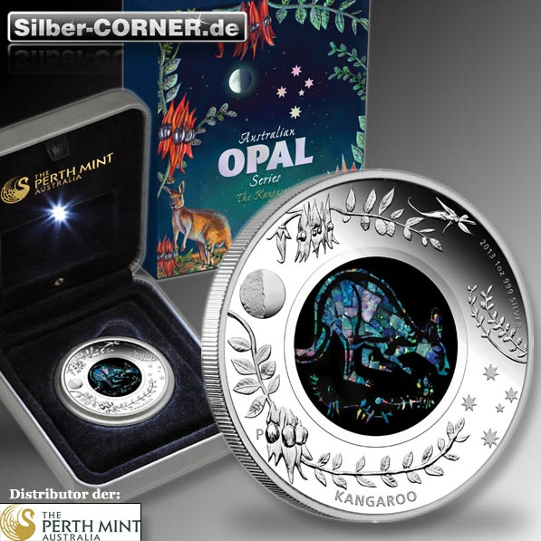 Australian Opal Series - 2013 Kangaroo 1 Oz Silver Proof Coin*