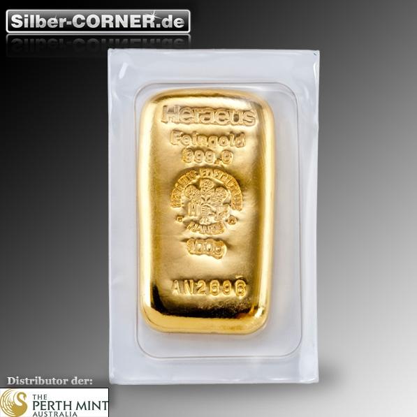 gegossener 100 Gramm Goldbarren