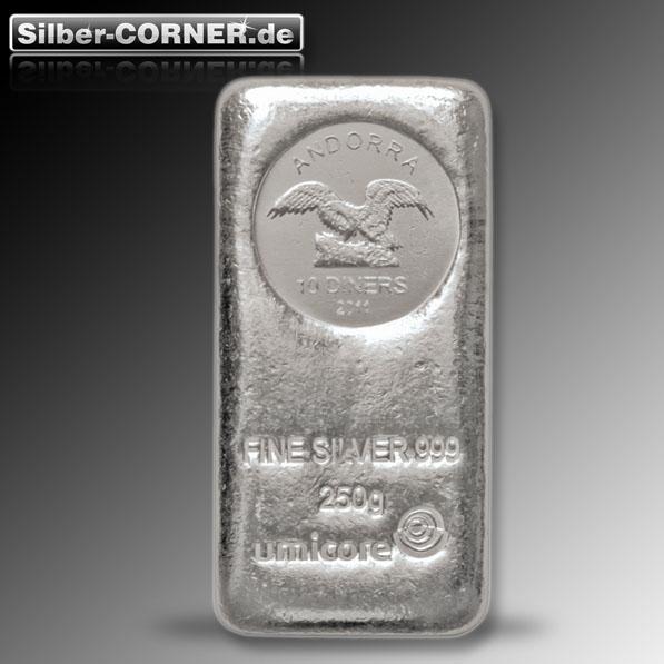 250 Gramm Umicore Silberbarren