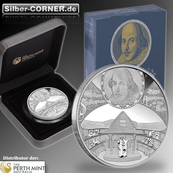 II.Wahl Karton eingerissen 450th Anniversary of Wiliam Shakespeare 5 Oz Silber Proof Coin *