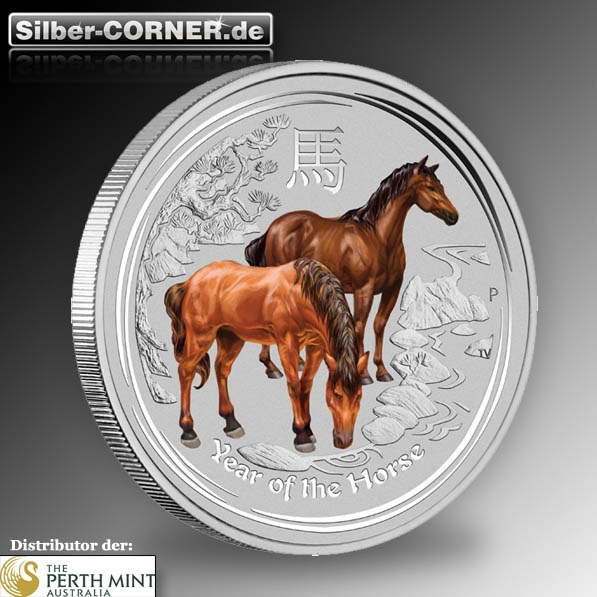 lunar pferd silber farbig 1 oz