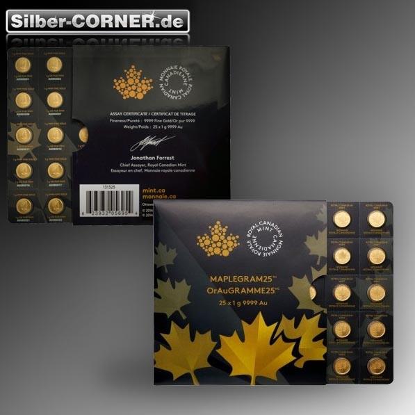 Maple Gram 25 x 1 Gramm Goldmünzen