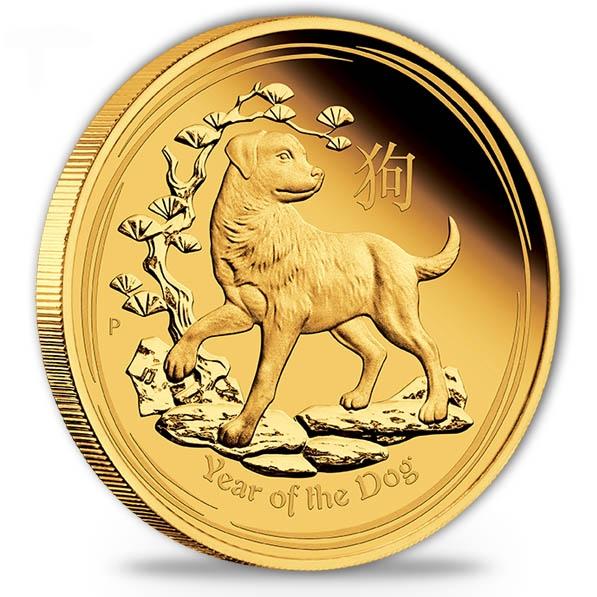 Lunar II - Hund - 1/10 Oz Gold Proof + Box + COA