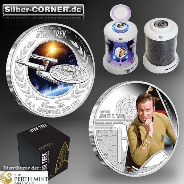 Star Trek - 2 Coin Set - Kirk + NCC-1701 2 Oz Silber*