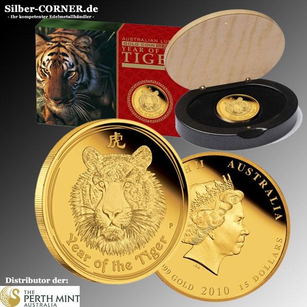 Lunar II Tiger 2010 1/10 Oz Gold Proof + Box +COA