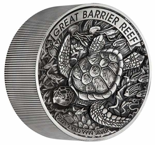 Great Barrier Reef 2 KG Silber Antik Finish +Box +COA*