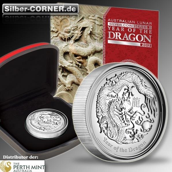 Lunar II Drache 1 Oz Silber High Relief Coin + Box + CoA*