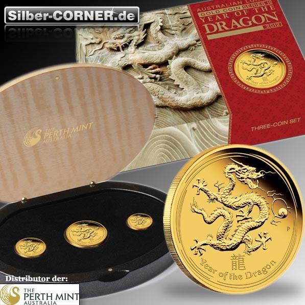 Lunar II Drache 3-Coin-Set Proof + Box + COA
