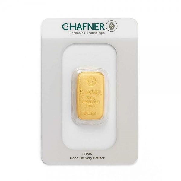 250 Gramm Hafner Goldbarren im Blister