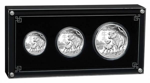 Lunar III - Ochse - 3 Coin Set Silber Proof 2021 + Box + COA*