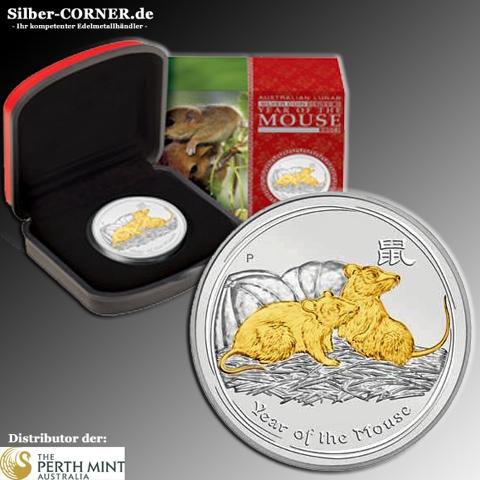 Lunar II Maus 2008 1 Oz gilded + Box + Zertifikat *
